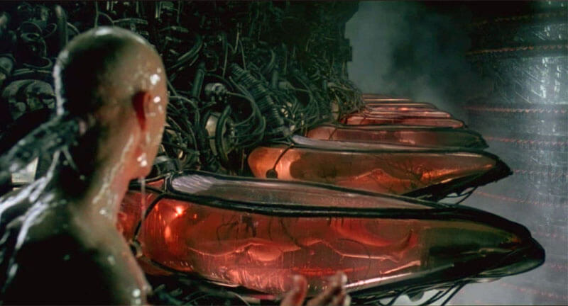 Сцена из Матрицы, где Нео пробуждается и видит вокруг себя людей-батареек