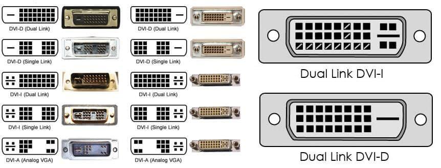 Разновидностей DVI несколько. Но на практике распространён DVI-I (Dual link)