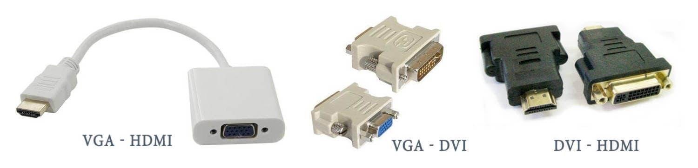Переходники с VGA на HDMI, VGA на DVI, с DVI на HDMI