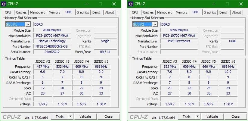 Подробная информация про оперативную память, CPU-Z