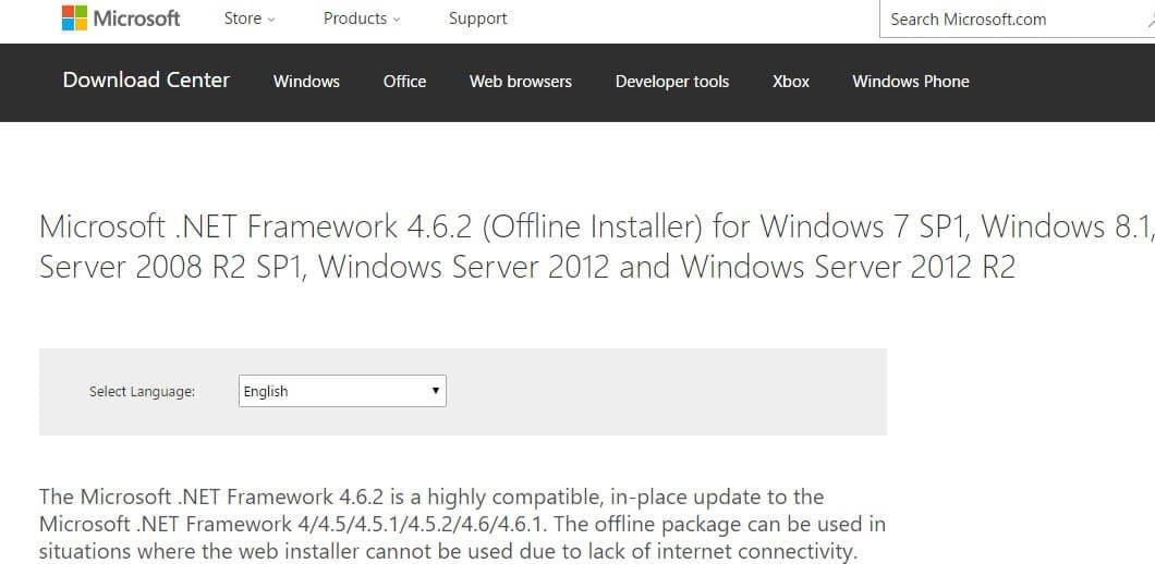 Скачать .NET Framework с официального сайта Майкрософт
